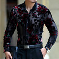 Exquisite flower pattern silk gold velvet hollow high-end shirt 2016 Spring&Autumn new fashion casual quality men shirt M-XXXL