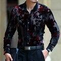 Requintado padrão de flor de seda de veludo ouro oco camisa high-end 2016 Primavera & Outono nova moda casual dos homens de qualidade camisa M-XXXL