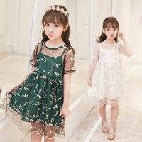 Moda Kwiat Chrzciny słodkie Sukienki Dla Dzieci od 4 do 120 Lat Summer Party Dress Dziewczyny Dzieci kolano długość Sukni