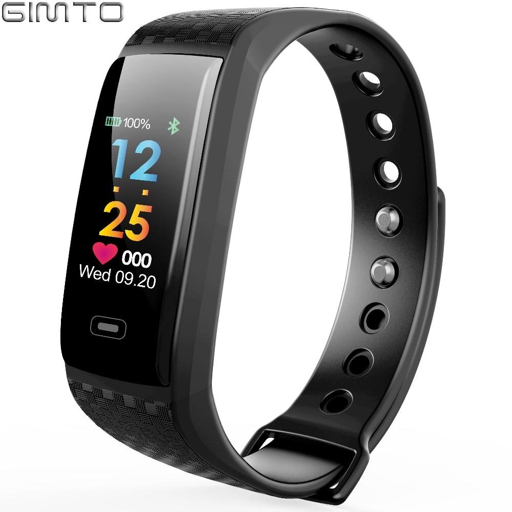 GIMTO Brand Sport Smart Bracelet Watch Women Men Waterproof Stopwatch Heart Rate Blood Pressure Oxygen Calories For iOS Android