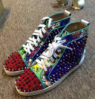 2016 Top Quality Men Multicolor Spike Shoes Lace Up Sneaker Rivet Sapatos High Top Fashion Men