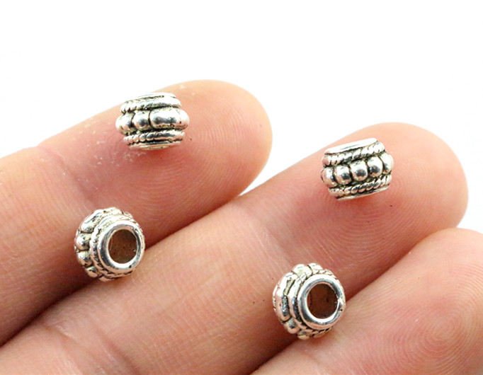 8x6mm 30pcs Hole Size 3.7mm Antique Silver Plated Ball Handmade Charms Pendant:DIY For Bracelet Necklace-P6-29