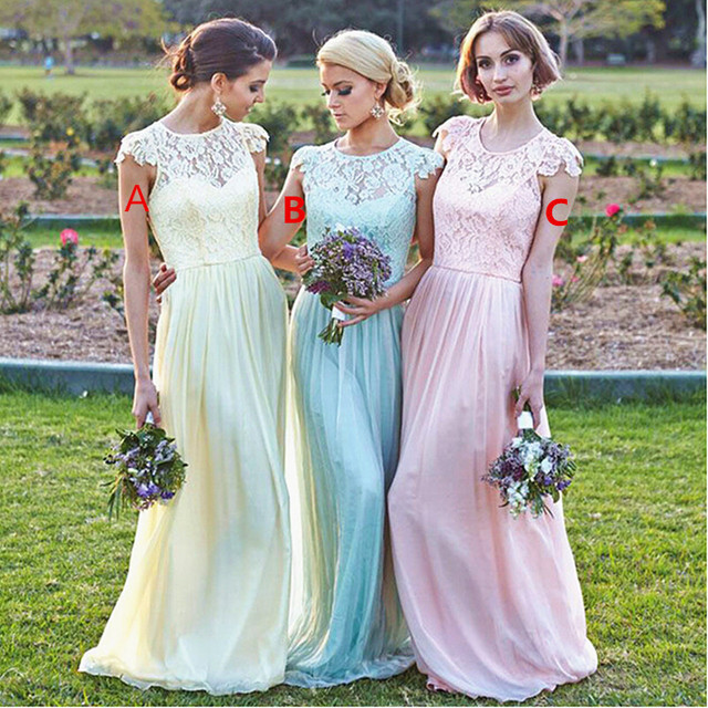Modest Plus Size Light Pink Bridesmaid Dresses Yellow Green Cap Sleeve Sheer Lace Vestido