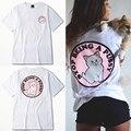 Verano mujeres harajuku style clothing pink cat impreso camisetas de algodón de manga corta moda de la calle ropa de mujer