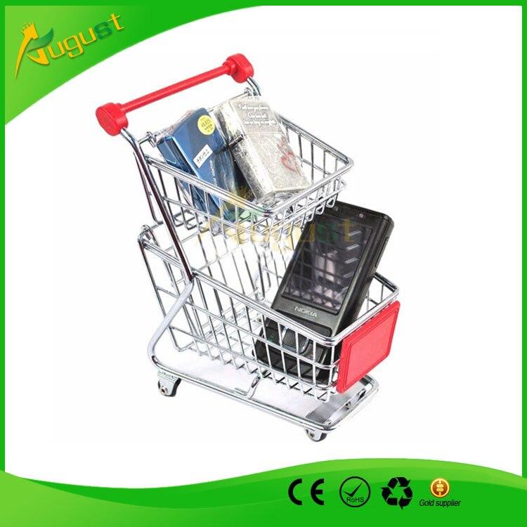 100pcs/lot Double Layers Creative Storage Mini Shopping Cart Desktop mini supermarket trolleys pure hand-painted storage box