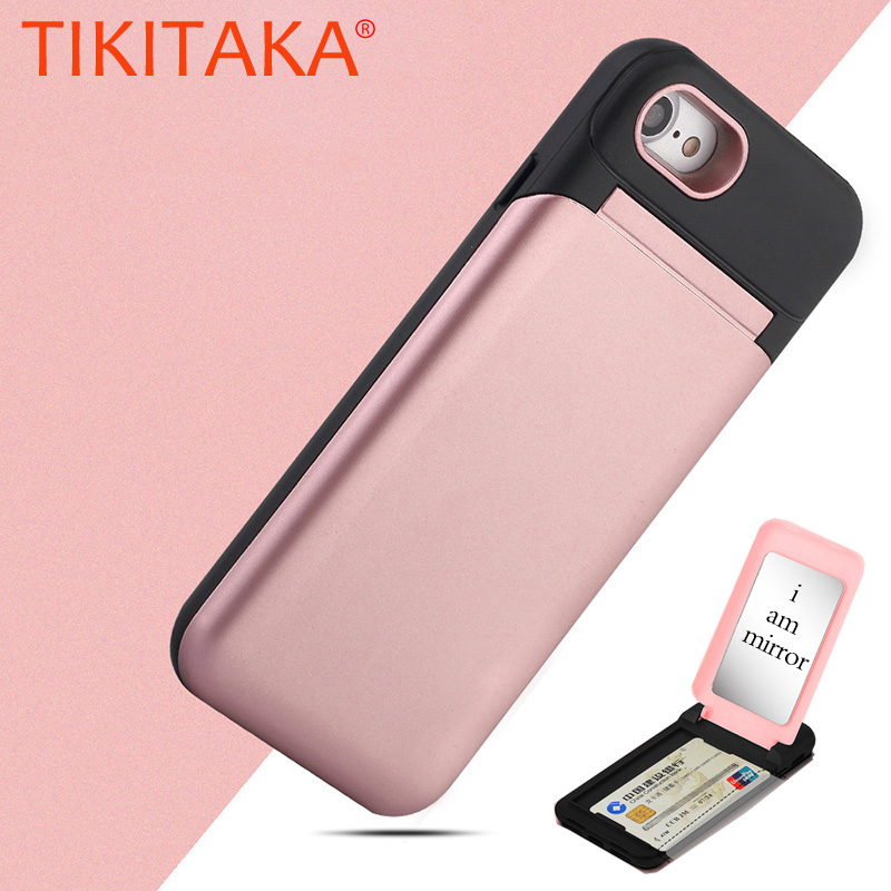 Mirror Flip <font><b>Case</b></font> For <font><b>iphone</b></font> X 8 7 6 6s Plus Fundas Multifunction Wallet Stand Holder Cover <font><b>Makeup</b></font> Phone <font><b>Cases</b></font> + Card Slots Coque image