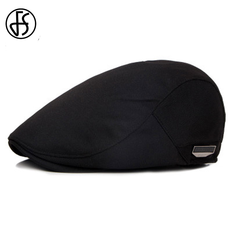 FS Unisex De Alta Calidad Tapa Boina Sol de Verano Transpirable Sombrero Para Hombres Mujeres Moda Plana Cabbie Caps Negro Sombreros 2017