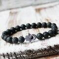 Meditation Men Wrist Mala Healing 8mm Black Lava Stone silver evil eye Buddhist bracelet Inner self
