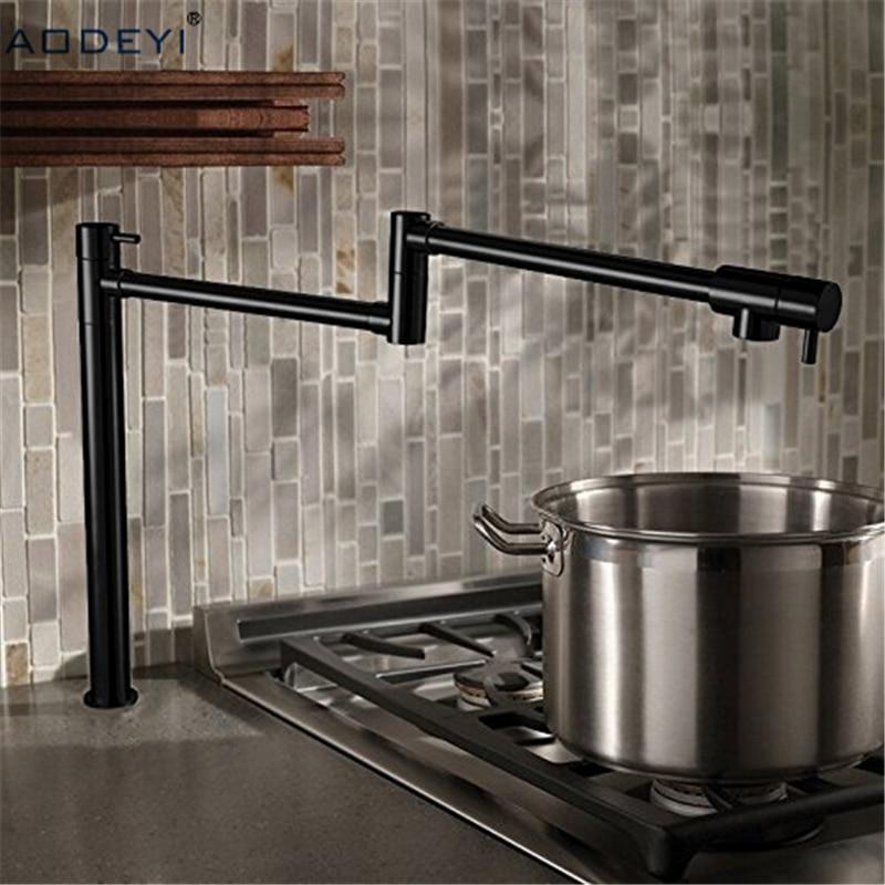 100% Solid Brass Pot Filler Tap Deck Mounter Kitchen Faucet Single Cold Single Hole Tap Chrome Nickel Alba Black niko 50pcs chrome single coil pickup screws