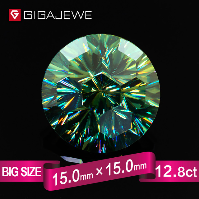 GIGAJEWE Angel Eye Round Cut Green Color Moissanite Stone 12ct 15mm Gem Making Fashion Jewelry Customize Beads Girlfriend Gifts