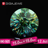 GIGAJEWE Angel Eye Round Cut Green Color Moissanite Stone 12ct 15mm Gem Making Fashion Jewelry Customize Beads Girlfriend Gifts