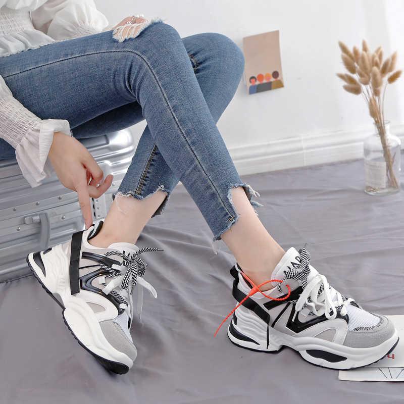 cd7420ef ... XJRHXJR Брендовая женская обувь 2019 Мода весна искусственная кожа на  шнуровке женские обувь ulzzang женские кроссовки ...