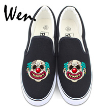 Wen Original Design White Slip on Shoes Women Flats Creepy Clown Scar on Face Black Canvas Sneakers Non-slip Platforms