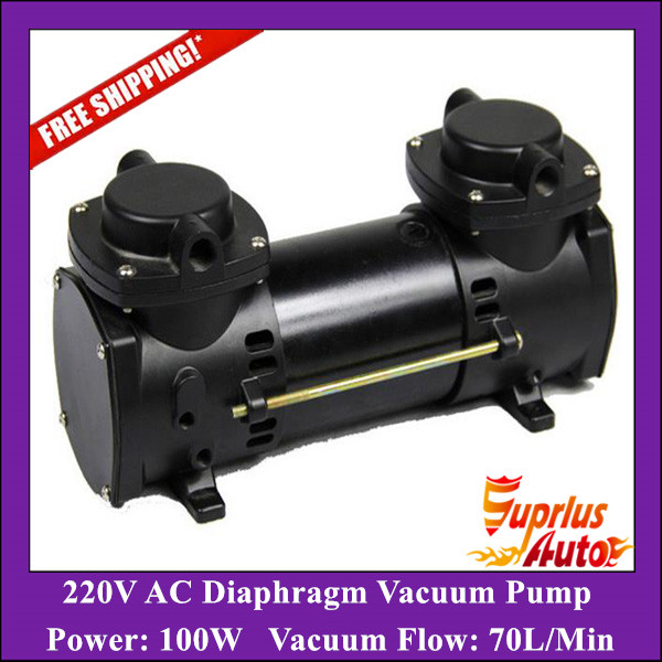 Free Shipping 220V AC GZ35B-220 70L/Min Vacuum Flow Diaphragm Vacuum Pump With 100W Power Oil-free Double Heads Vacuum Pump 220v ac 50l min 165w oil free piston vacuum pump hzw 165