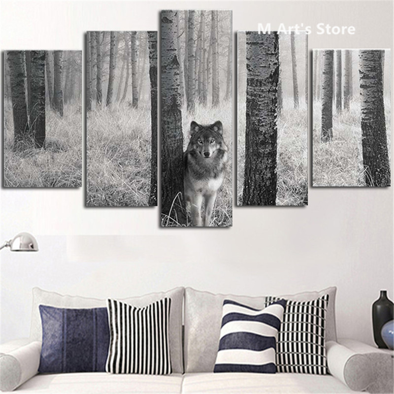 pedao pintura caligrafia lobo olhos atentos na natureza pintura retrato parede poster prints decor arte