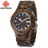 2017 Top Brand SIHAIXIN Fashion Watch With New Design Men Wooden Bangle Quartz Watch With Calendar
