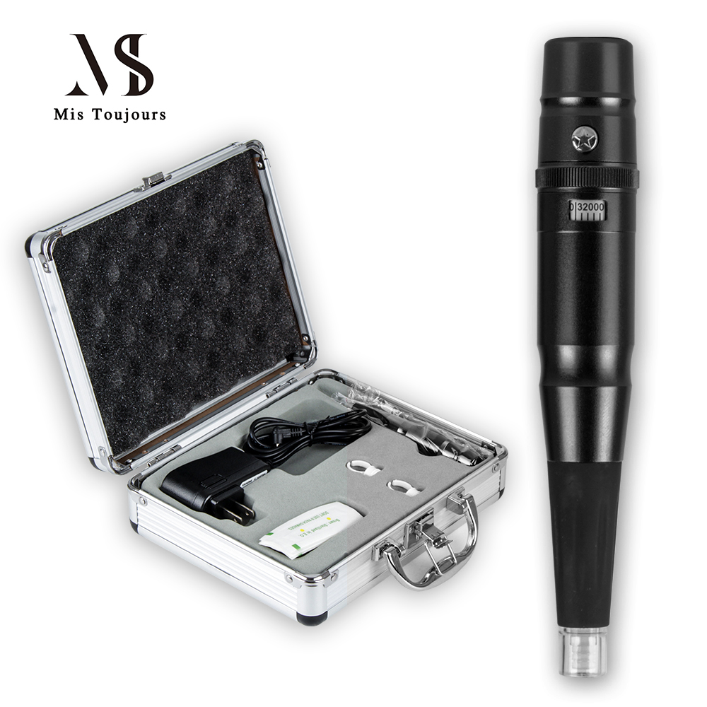Black Permanent Makeup Machine Kit With Pro Box Microblading Tattoo Machine Pen Tattoo needles and Tips