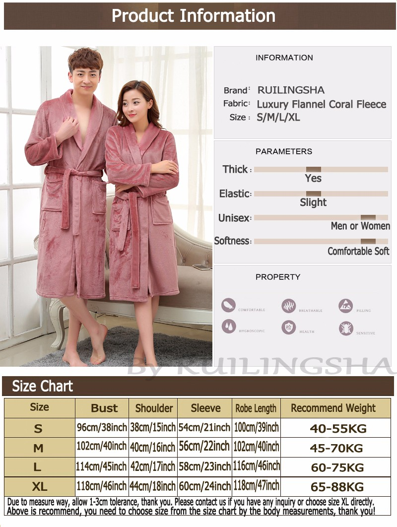 Size chart Coral Fleece Robe