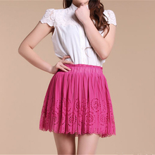 купить Summer Ladies Hollow Out Pleated Chiffon Skirt Elastic Waist Mini Flower A Line Princess Skirt Red Pink Party Skirt Satin Lining дешево