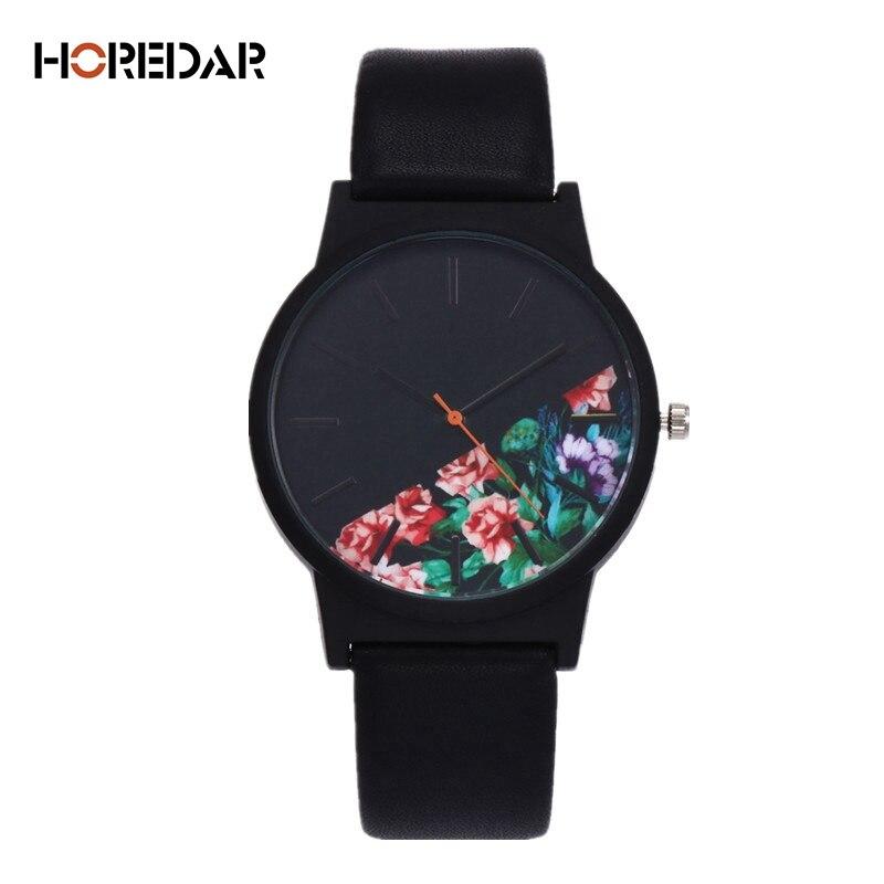 New Vintage Leder Frauen Uhren 2017 Luxus Top-marke Blumenmuster Casual Quarzuhr Frauen Uhr Relogio Feminino