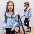 Осень Новое Прибытие Дети Девушки С Длинными рукавами Футболки, полосы Девушки Топ, детская Одежда