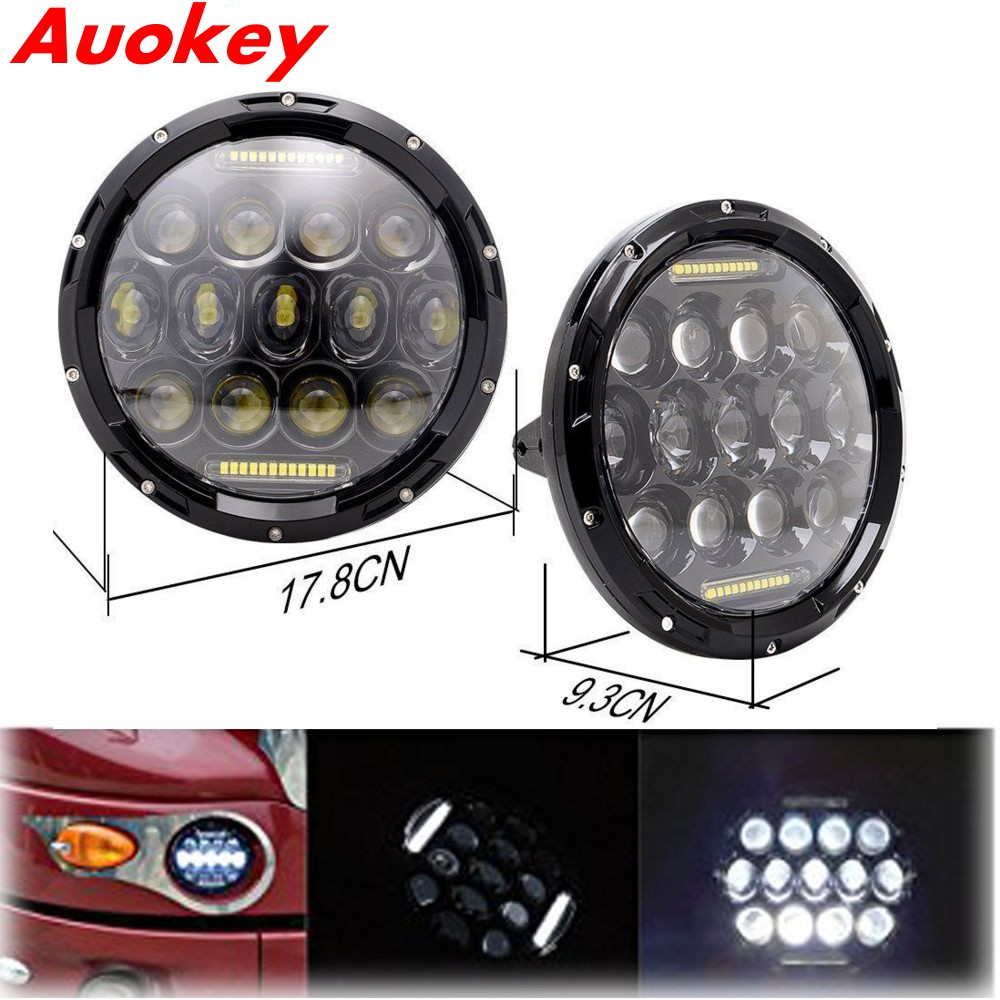 Auokey 7 Inch Round LED Headlights LED Headlight DRL Hi/Lo Beam Light Lamp For 1997-2006 Jeep Wrangler TJ Package of 2