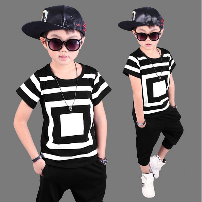 2017 Summer Boy Sport Print Striped Clothing Set Short Sleeve+Pants Boy School Fashion Hip hop Perform Clothes Set Kid Clothes 2017 brand summer boy sport print a clothing set short sleeve t shirt short pants summer boy school fashion clothes set