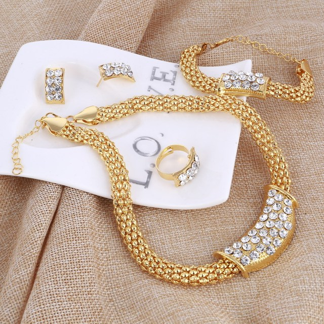 Amazing Price Wedding Gold Jewelry Sets For Women Pendant Statement African Beads Crystal Necklace Earrings Bracelet Rings 6