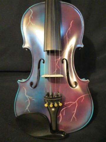 Elétrico e Acústico Relâmpago Pintado Cores Brancas Azulado Violino 4 – 8517