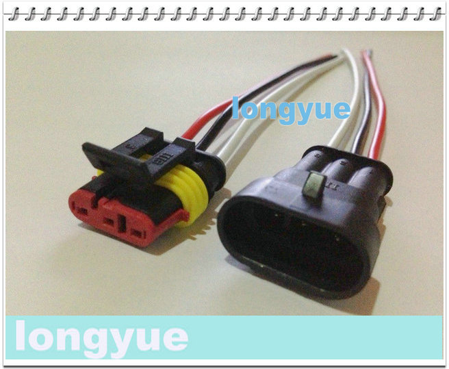 longyue factory sale 20sets New 3 Pin Waterproof Electrical Wire Connector Plug Motorcycle Car Marine 10cm wire