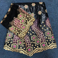 African Bazin Riche Getzner fabric with Embroidery RED Bazin lace beaded fabric for dress African lace fabric HJ27 1