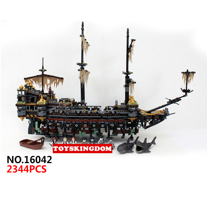 Classic movie Pirates of the Caribbean Silent Mary ship building block model Captain Jack figures shark bricks 71042 toys hot classic movie pirates of the caribbean imperial warships building block model mini army figures lepins bricks 10210 toys