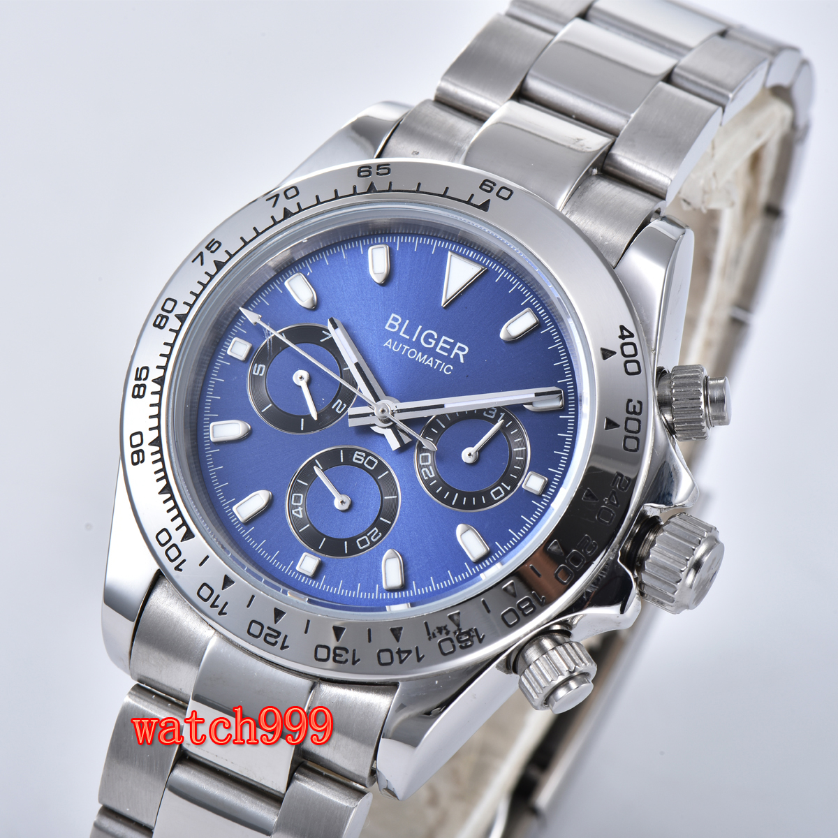 Classic Retro 39mm Bliger Automated Mechanical Blue Dial Date Steel Watch Mineral Glass Waterproof Men's Casual Watch
