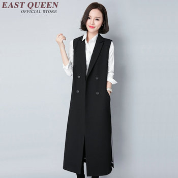Female waistcoat long women long vest Lady Office Wear Long Waistcoat Women Casual Sleeveless Vest Jacket AA2886 Y