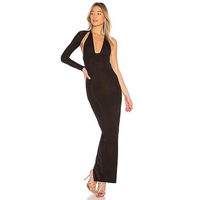cf37a8a3998 2018 Fashion Nova Runway Black Maxi Dress One Shoulder Cut Out Bandage Dress  Backless Back Split Sexy Celebrity Club wear Party