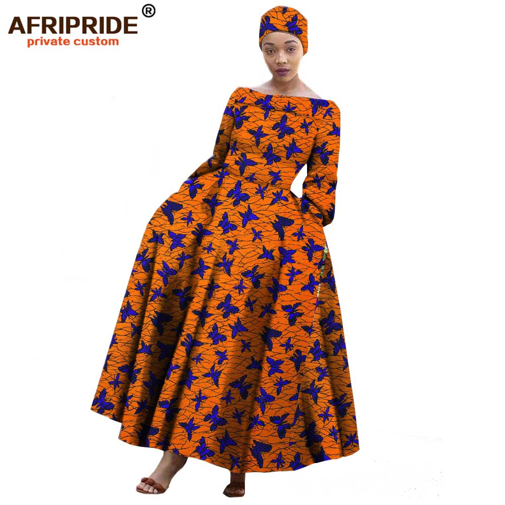 US $56.36 19% OFF|2019 AFRIPRIDE african maxi dress for women long sleeves  ankle length party long dress plus size with a small headscarf A722559-in  ...
