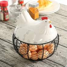 Metal Mesh Wire Egg Storage Basket with White Ceramic Farm Chicken Top and Handles
