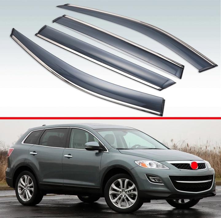 For Mazda CX-9 2009-2012 Plastic Exterior Visor Vent Shades Window Sun Rain Guard Deflector 4pcs