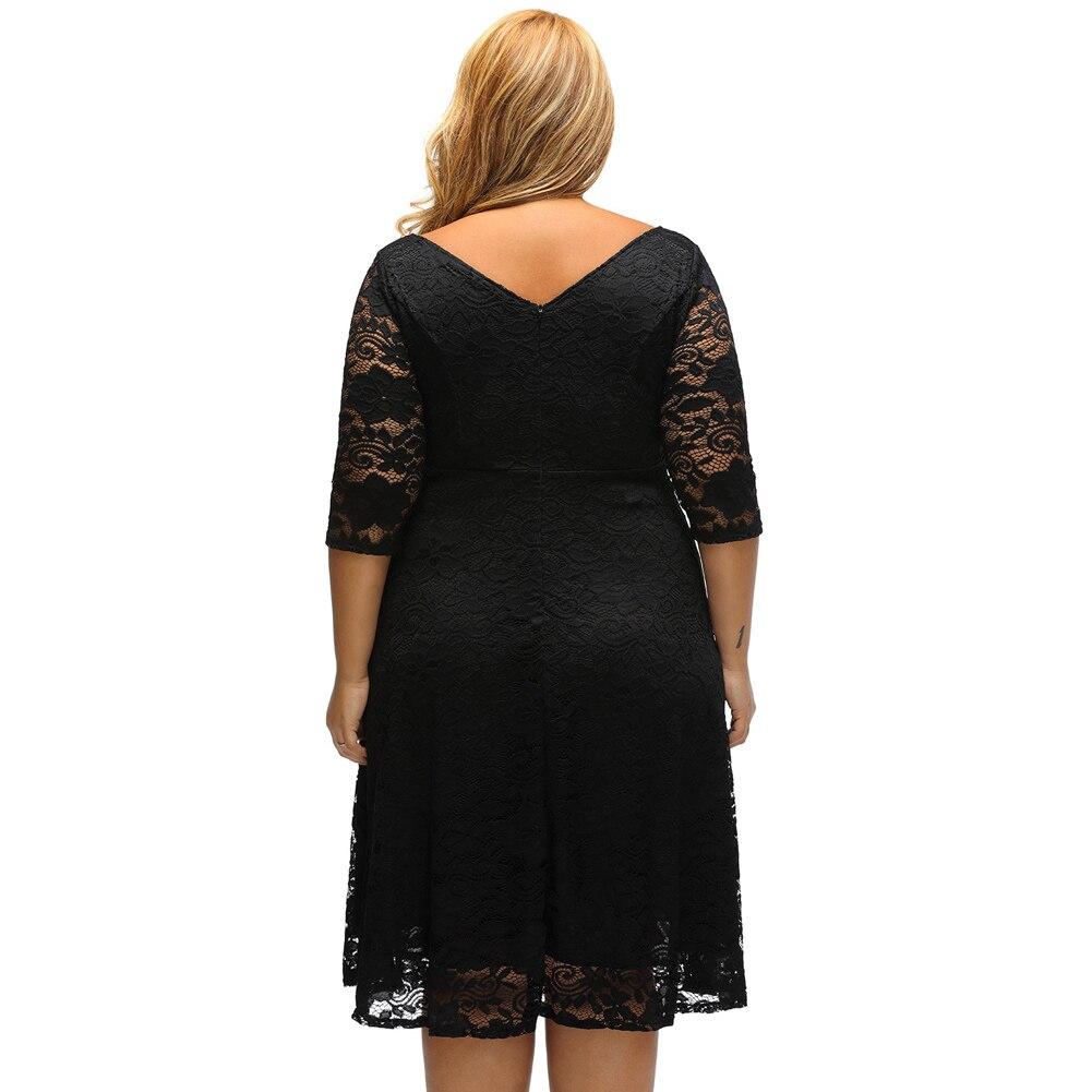 XXXL Plus Size Elegant Party Dresses Women Lace Dress Floral O-Neck A-Line  Three Quarter Sleeves High Waist vestidos de festa bf3fd63a1365