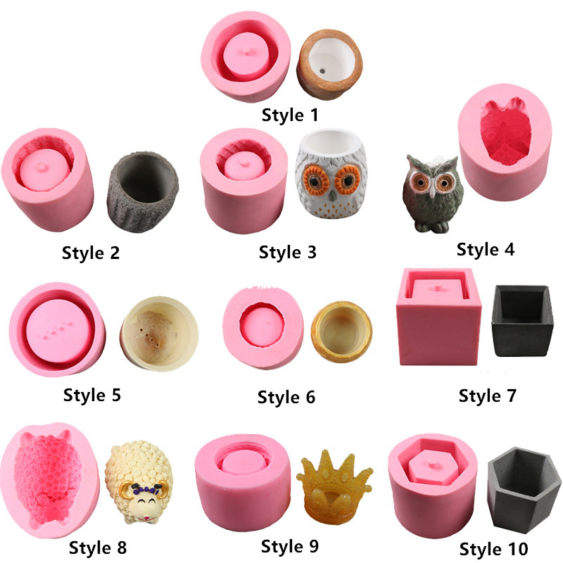 Concrete Silicone Flower Pot Mold 3D Owl Succulent Cement Plaster Mould Soap Candle Making Mold Ceramic Potted Plant Crafts