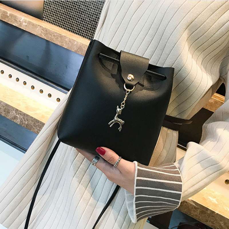 2018 fashion causal aswomen bucket bags leather capacity tote female solid shoulder messeger bag casual mujer tassen bolsos