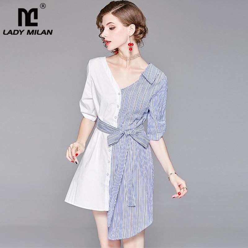 Lady Milan Womens Turn Down Collar 3/4 Sleeves Striped Patchwork Sash Belt Asymmetric Fashion Shirt Dresses