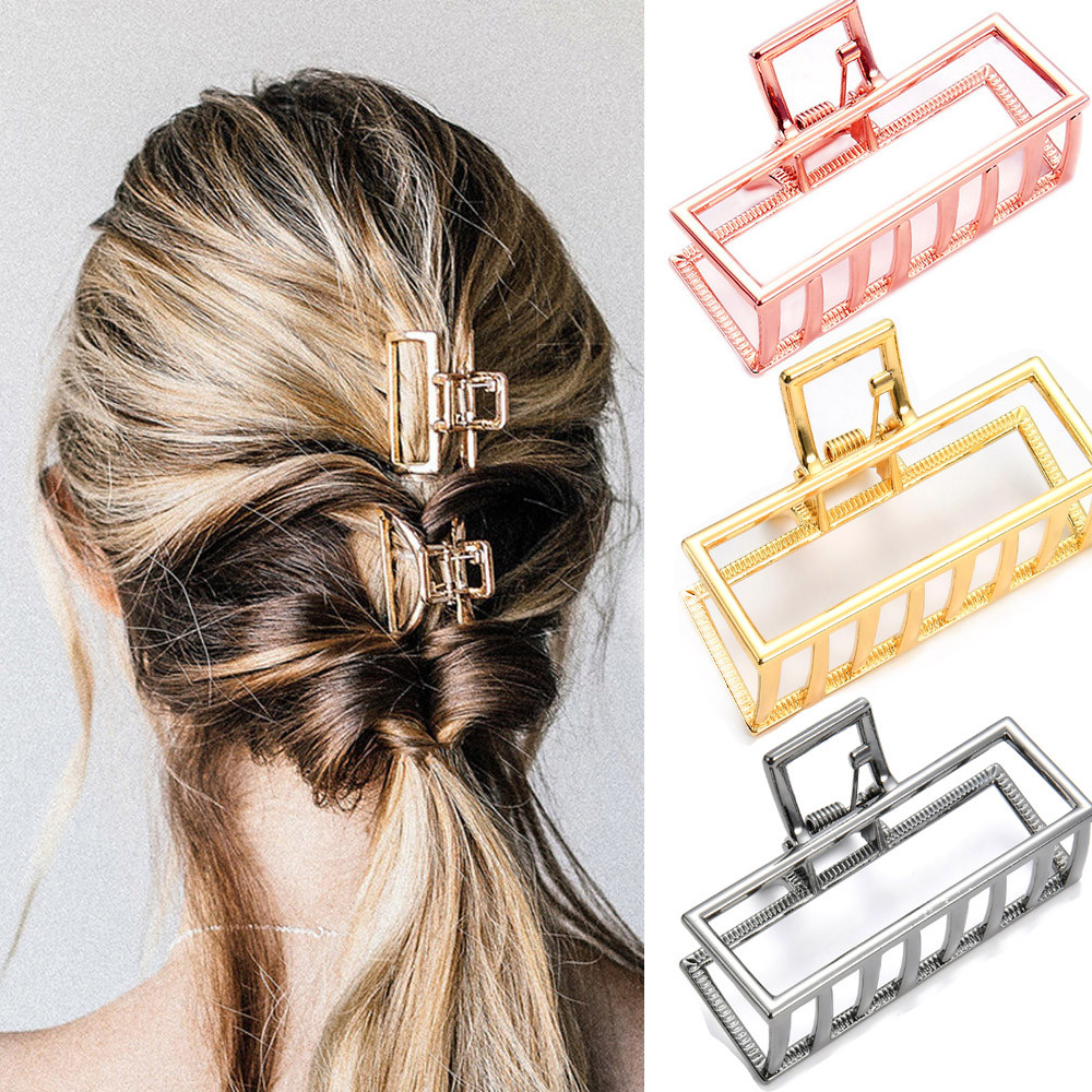 Women Geometric Hair Claw Solid Color Hair Crab Retro Square Shape Pearl Hair Clips Claws Hair Accessories Large Size Hairpin