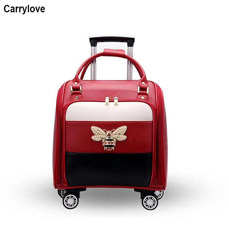 """CARRYLOVE 16 """"インチ女性革スーツケーススピナー小さなかわいいキャビンために荷物をローリング女の子  グループ上の スーツケース & バッグ からの キャスターバッグ の中 1"""