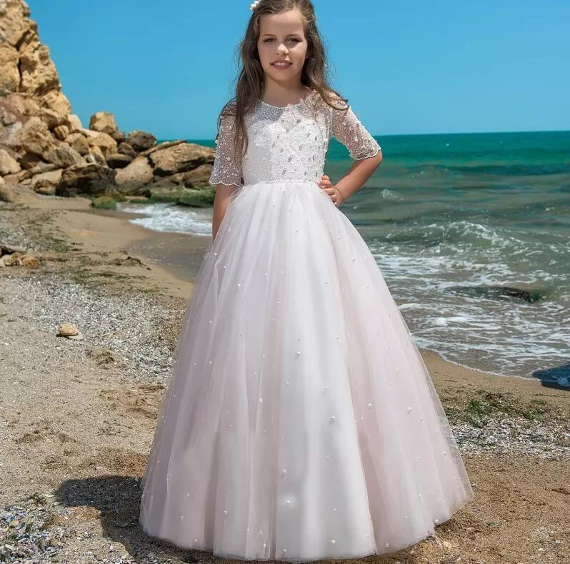 Luxury Flower Girl Dresses Ball Gown White Lace Pearls Half Sleeve Long Wedding Pageant First Communion Dresses for Little Girls 2018 purple v neck bow pearls flower lace baby girls dresses for wedding beading sash first communion dress girl prom party gown