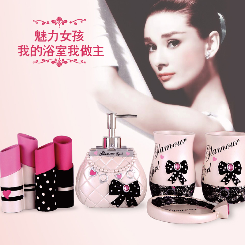 Glamour Girl Five Pieces Resin Bathroom Set Bathroom Supplies Bathroom Accessories For Your Home Bathroom