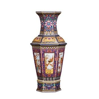 Qing Yongzheng Enamel Colorful Flowers and Birds Hexagonal Vase Antique Home Decoration Porcelain Decoration Antique Collection