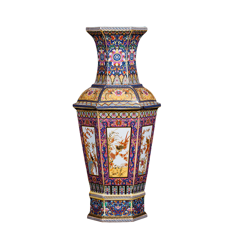 Qing yongzheng 에나멜 다채로운 꽃과 새 육각 꽃병 골동품 홈 인테리어 도자기 장식 골동품 컬렉션-에서꽃병부터 홈 & 가든 의  그룹 1