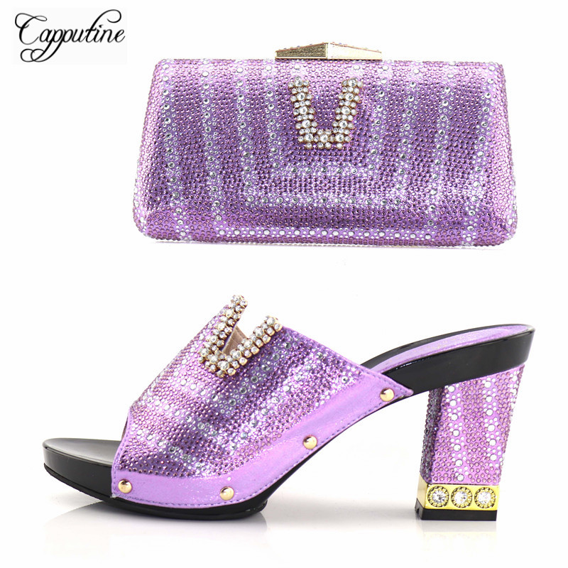 Capputine New Arrival Rhinestone Woman Shoes And Bag Set Nigerian Elegant High Heels Shoes And Matching Bag Set For Wedding capputine new arrival rhinestone slipper shoes and matching bag set africa style high heels shoes and bag set evening party