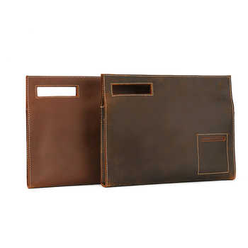 Leather Folder for Documents Office Retro Nature Cow Leather Document Bag Multifunctional Paper File Bags Holder 35*6.5*28 cm - SALE ITEM Office & School Supplies